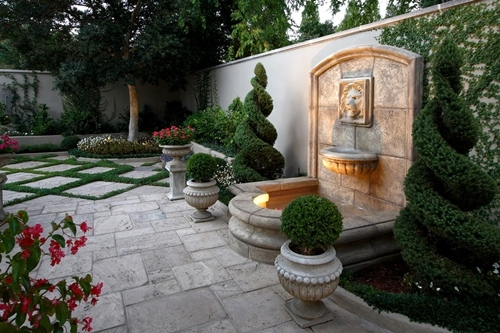 Landscape hardscape water features home additions for Small front courtyard design ideas